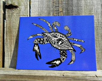 Blue Crab Animal Art Postcards