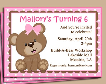 Pink Teddy Bear Invitation Printable or Printed with FREE SHIPPING - Available in Blue - Birthday, Shower