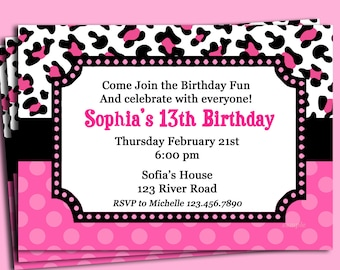 Pink Cheetah Print Polka Dot Invitation Printable or Printed with FREE SHIPPING - Personalized for your Party