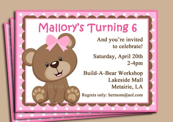 Blue Teddy Bear Invitation Printable or Printed with FREE – Build a Bear Birthday Invitations