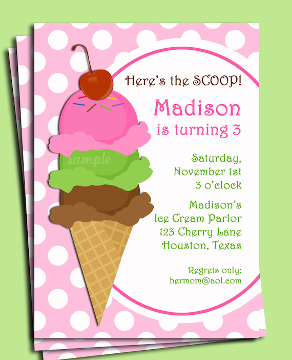 Ice Cream Invitation Printable Or Printed With Free Shipping