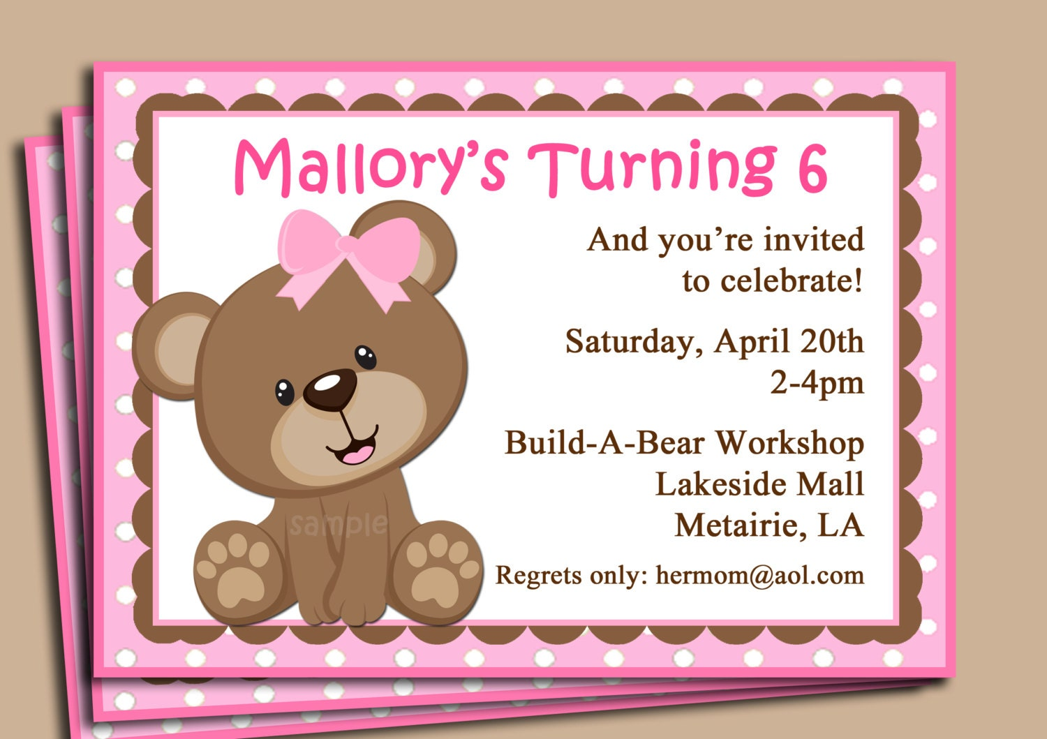 Pink Teddy Bear Invitation Printable or Printed with FREE – Build a Bear Invitations Birthday