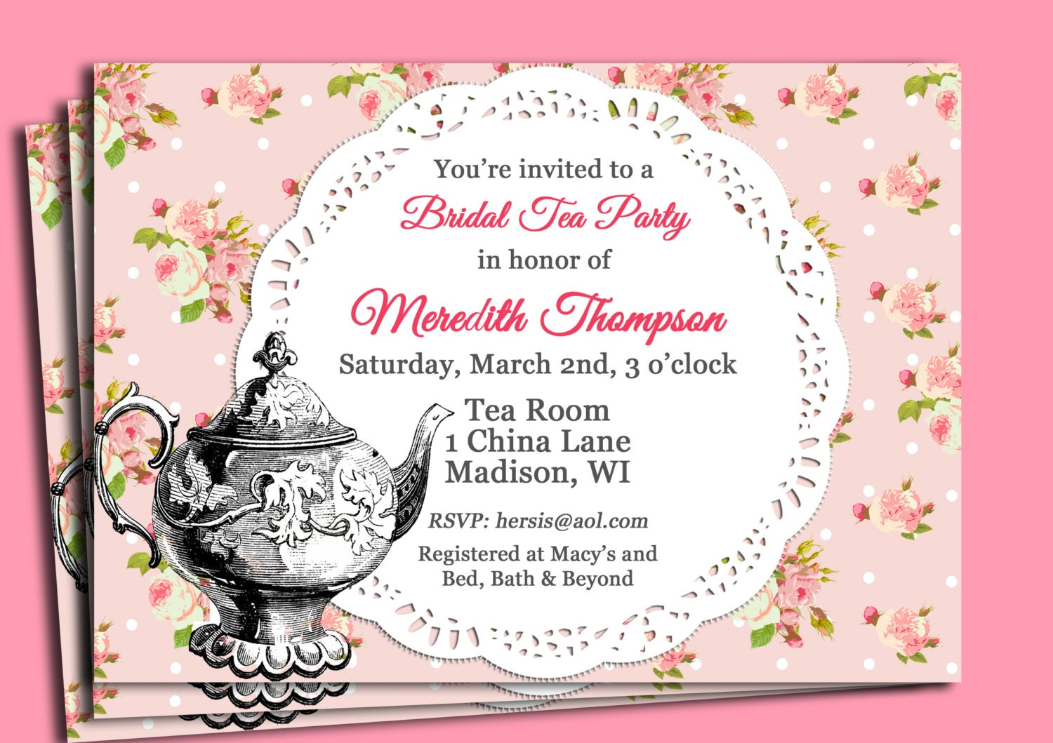 Vintage Tea Party Invitation Printable or Printed with FREE