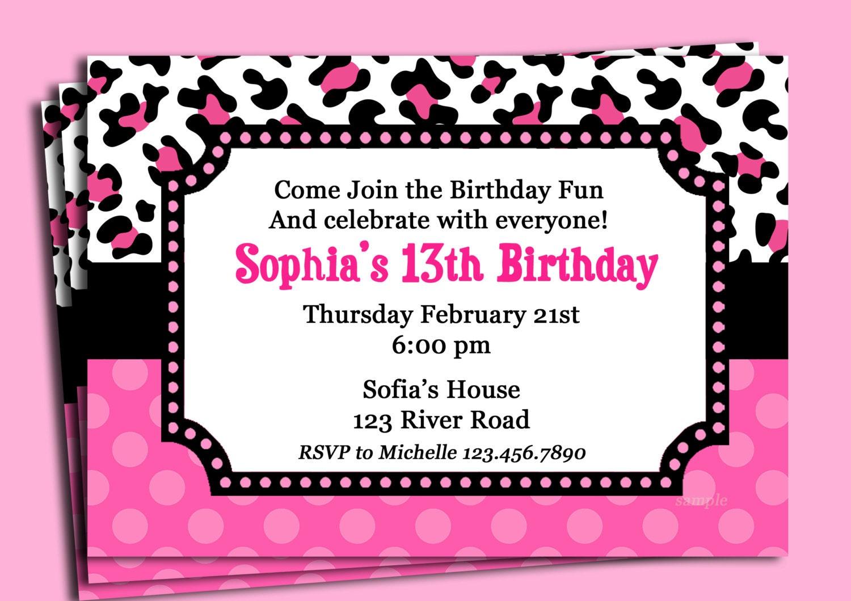 Pink cheetah print polka dot invitation printable or printed for Leopard print invitations templates