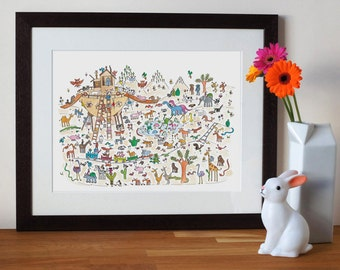 noahs ark print, nursery wall art with animals