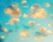 Cloud Photography, Cloud Print for Nursery Decor, Peach Aqua Blue Wall Art, Dreamy Sky Photography, Baby Boy Nursery 8x10 or 11x14 Print