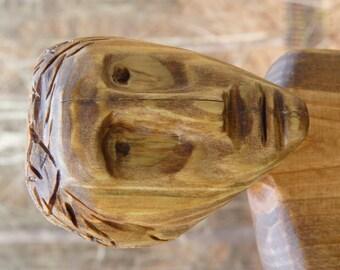 John Lynch, Primitive Folk Art Wood Carving Stone Age Man, Pine Wood Sculpture, funky b2