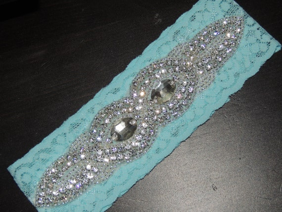 Lace Wedding Garter - Something Blue / Turquoise
