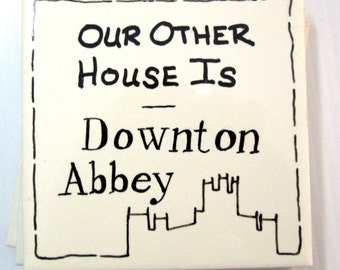 Hand Painted Downton Abbey Coaster Tile Set Of 4 Our Other House Warming Gift Coffee Mug Trivit