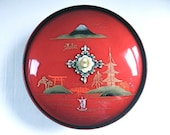 Vintage Musical Serving Dish Japanese Hand Painted Red Enamel Music Box Mt. Fuji Bowl