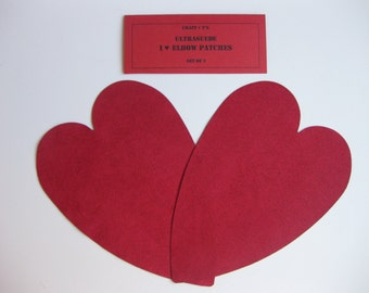 Elbow Patches - Heart Shaped Red Ultrasuede - Set of 2