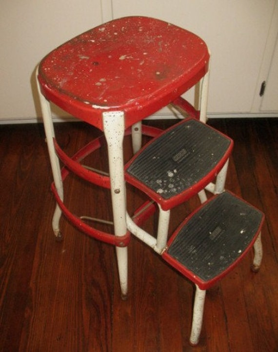 Vintage Cosco Stool Seat Bar Stool Folding Steps Red Amp White