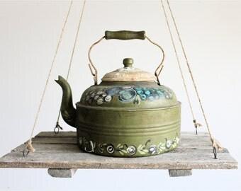 Vintage Enamel Handpainted Teapot