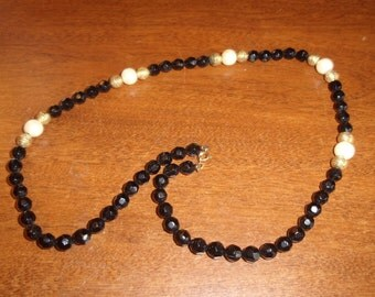 vintage necklace black white gold lucite beads