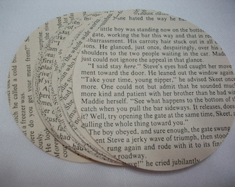 Paper Ephemera, 50-3 1/2 Inch Circles from Vintage 1960s Book Pages, Scrapbooking or Art Supplies