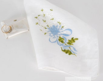 1960s Handkerchief Bridal Handkerchief Blue Embroidery Vintage 60s Embroidered Hanky Blue Flowred Hanky