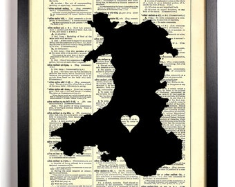 Map Of Wales, Home, Kitchen, Nursery, Bathroom, Office Decor, Wedding Gift, Eco Friendly Book Art, Vintage Dictionary Print, 8 x 10 in.