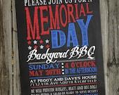 Memorial Day Invitation, Chalkboard Memorial Day Invitation, Memorial Day Decorations, Memorial Day Party, Memorial Day Decor, PRINTABLE