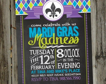 Chalkboard Mardi Gras Madness New Orleans Mardi Gras, Fat Tuesday PRINTABLE Party Invitation