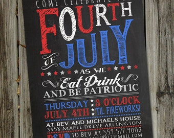 Chalkboard Fourth of July Invitation, 4th of July Invitation, 4th of July Party, PRINTABLE, Fourth of July Decorations, Patriotic Invite