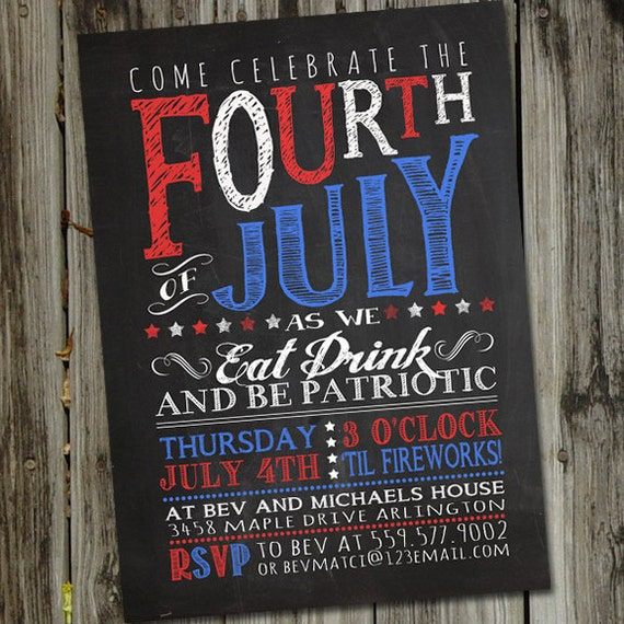 May The Fourth Be With You Wedding Favors: Chalkboard Fourth Of July Invitation 4th Of July Invitation