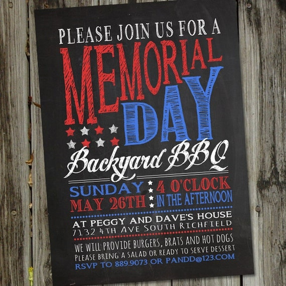 May The 4th Be With You Invitations: Memorial Day Invitation Chalkboard Memorial Day Invitation
