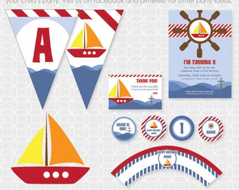 Party Printable Sailboat Party Theme - Personalized Printable - boat, water, sea, sailing, steering wheel, nautical
