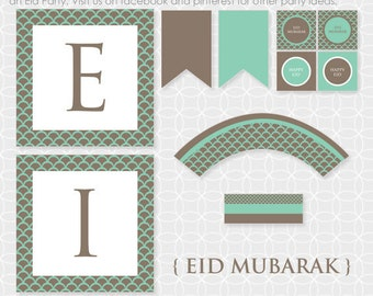 Party Printable DIY EID Mubarak Party Theme  - Instant Download