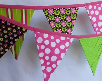 Hot Pink and Black Banner/ Birthday Banner/ Party Decoration/ Photo Prop / Fabric Bunting in Hot Pink,Emeral Greens, and Black