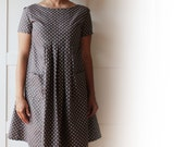 Earthy polka dots pleated dress tunic for women. Peter pan collar optional. Sizes S, M, L. Petite. Earthy brown, 100% organic cotton.