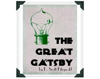 The Great Gatsby Poster - F Scott Fitzgerald - 8x10 Book Minimalist Art Print