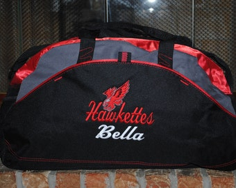 Personalized Duffel Bag with a Design Embroidered Gym bag Wrestling Karate School Cheer Dance Gymnastics Monogrammed Logo Large Duffel Bag