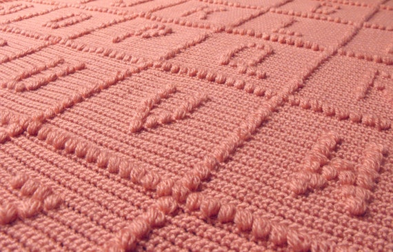 Crochet Pattern For Abc Baby Blanket : Crochet Baby Afghan Blanket ABC Alphabet Pink by KidsSheets