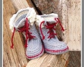 Kids Winter Boot-Slippers with Fur and Laces - Crochet Pattern - Instant Download Pdf - PdfPatternDesign
