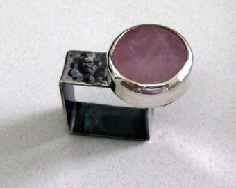 Sterling Silver Geometric Ring - Rose Quartz Stone Set asymmetrical in Square Sterling Silver Ring