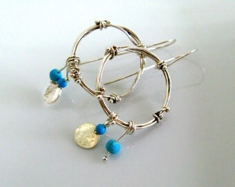 Statement Hoops Earrings. Twigs and Dewdrops Organic Hoop Earrings with Turquoise in Sterling Silver. By Amallias