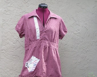 Eco Fashion Baby Doll Shirt  UpCycled Cotton Tunic Small Medium