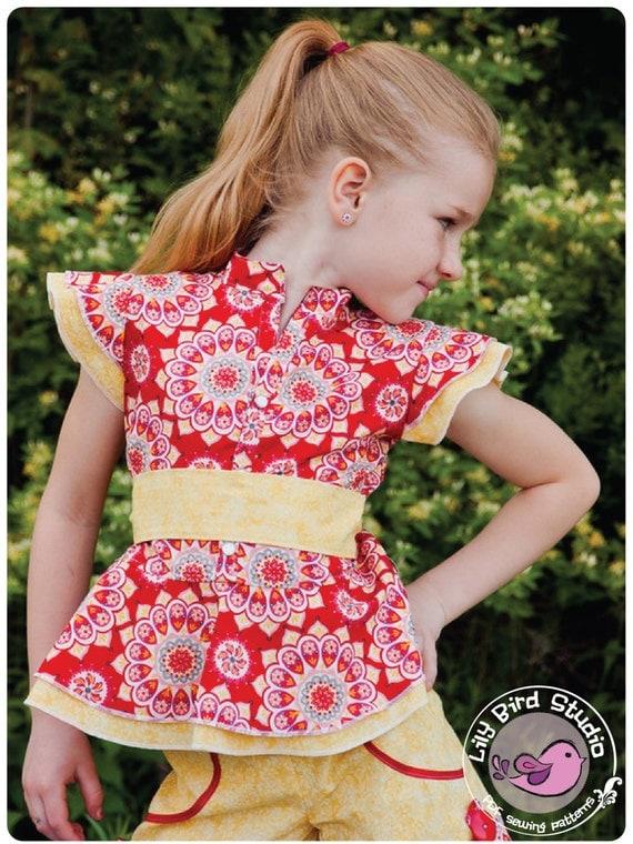 Lily Bird Studio PDF sewing pattern Amy's peplum top / blouse -  12 mths to 10 yrs - overskirt, mandarin style collar, ruffle sleeves