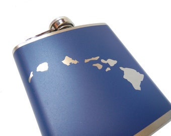 Hawaiian Islands Flask-  alcohol, liquor, booze, wedding, bridal party, hip pocket- Personalized Custom - YOU pick COLOR