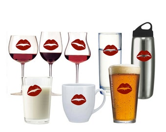 Kissing Lips Set Vinyl Decals - beer glass, wine glass, water bottle, coffee mug - kiss sticker