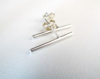 Minimal earrings, sterling silver stick earrings - Bar stud earrings