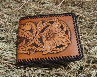 Men's Leather Credit Card Wallet With Vintage Floral Design