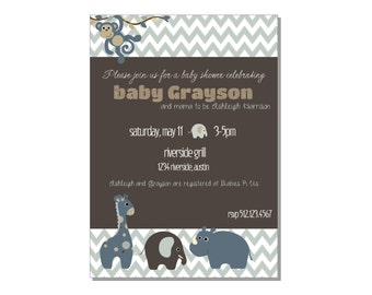 Zoo Animals Baby Shower or Birthday Invitation - diy printable - colors customizable