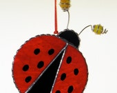 Stained Glass Suncatcher - Ladybug with Wire and Marble antenna