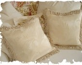 1930s Vintage Antique White Damask Jacquard Floral Scrolled Throw Pillow Cushion
