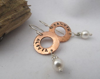 Personalized custom earrings,words,names,hand stamped earrings - copper and sterling silver metalwork, your choice of stone color