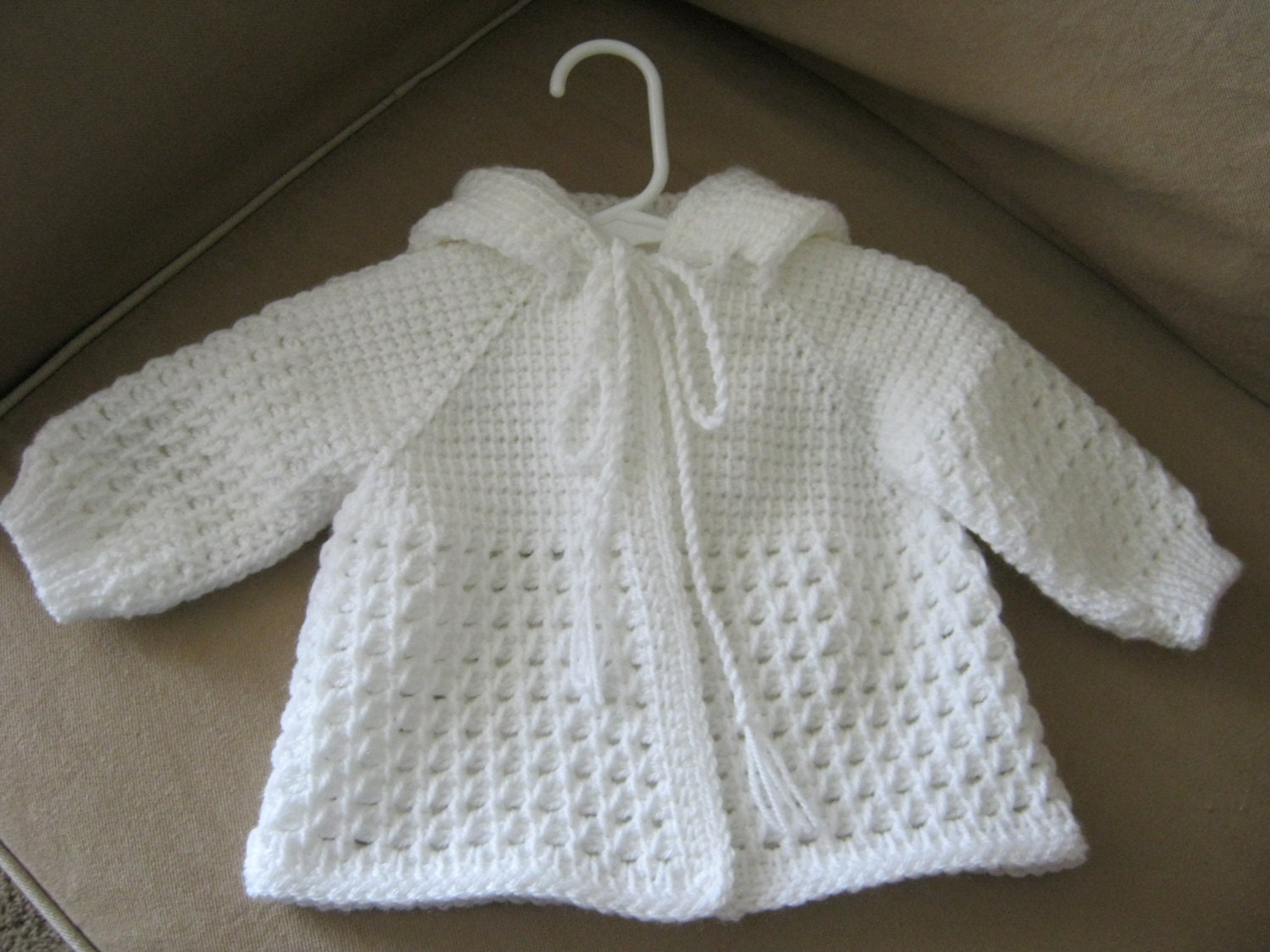 White Crochet Baby Sweater with Hood for Boy or Girl