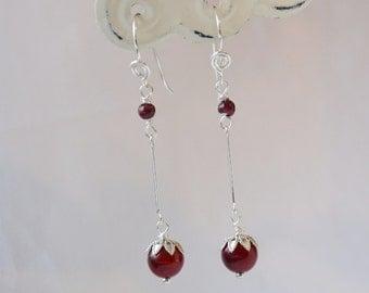 Blood Jade and Garnet Earrings, natural garnet, blood jade and silver earrings