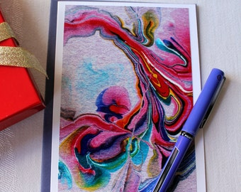 """Colorful Blank Note Card, Abstract Art Card with envelope, """"Streams of Color no. 3"""""""
