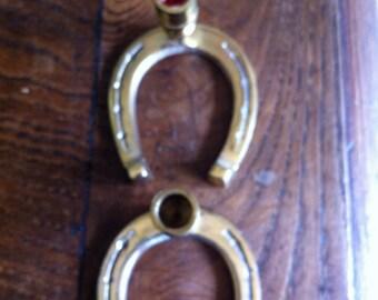 Brass Horse Shoe Candlesticks